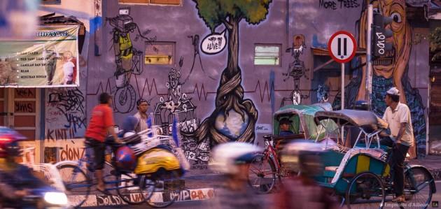 Rue et graffiti à Yogyakarta